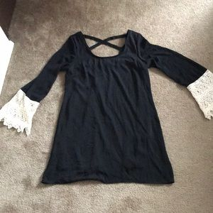 Dresses & Skirts - Black Tunic dress with cream lace sleeve